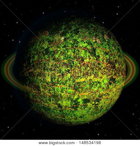 Abstract green planet with red veins. Unknown celestial body with organic green structure