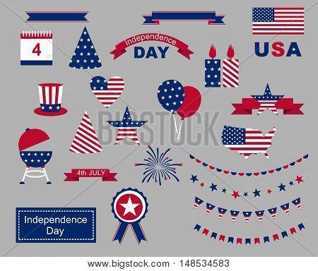 USA celebration flat national symbols set for independence day isolated o n gray background