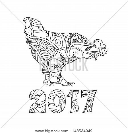 Stylish cock, or rooster and numbers isolated on white background. Symbol of the New Year 2017. Zentangle inspired style. Monochrome graphic. For calendar, card, coloring book. Art vector illustration