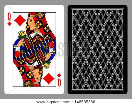Queen of Diamonds playing card and the backside background. Colorful original design