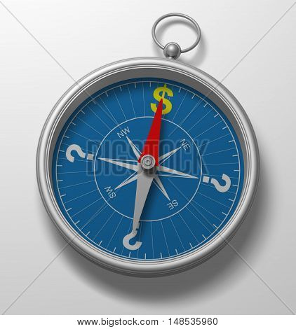 Compass 3D rose direction concept magnet dollar symbol