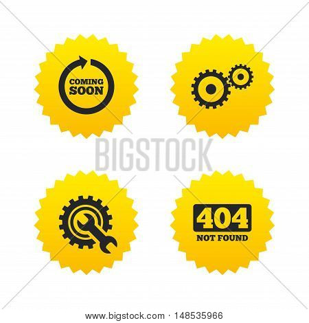 Coming soon rotate arrow icon. Repair service tool and gear symbols. Wrench sign. 404 Not found. Yellow stars labels with flat icons. Vector