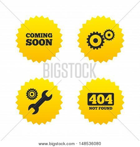 Coming soon icon. Repair service tool and gear symbols. Wrench sign. 404 Not found. Yellow stars labels with flat icons. Vector