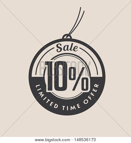 Ten percent discount. Black Sale vector tags.