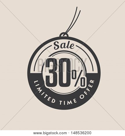 Thirty percent discount. Black Sale vector tags.