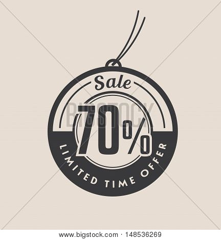 Seventy percent discount. Black Sale vector tags.