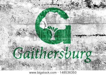 Flag Of Gaithersburg, Maryland, Usa, Painted On Dirty Wall