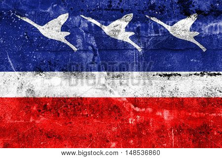 Flag Of Guaratingueta, Sao Paulo, Brazil, Painted On Dirty Wall