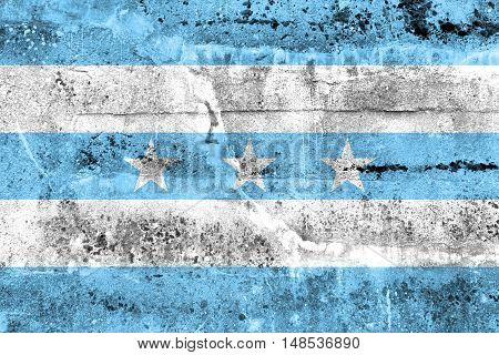 Flag Of Guayaquil, Ecuador, Painted On Dirty Wall