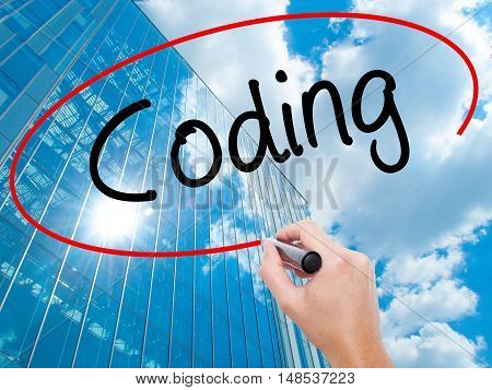 Man Hand Writing Coding With Black Marker On Visual Screen
