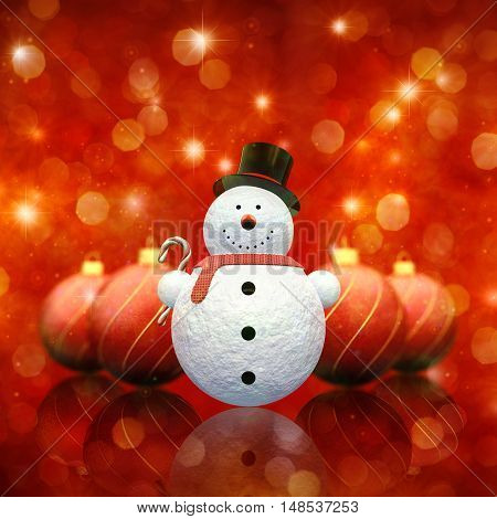 Decorative snowman holding a candy cane and christmas baubles on red sparkly background , 3d illustration