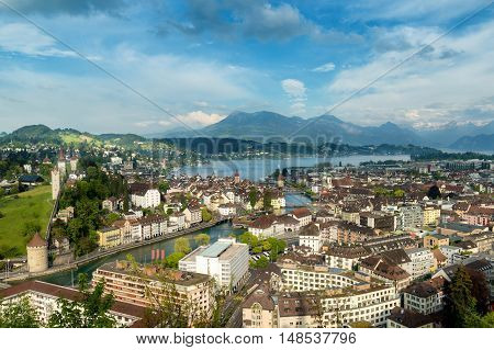 Lucerne Switzerland. Aerial view of the old town Lucerne city wall towers lake Lucerne and Rigi mountain in background