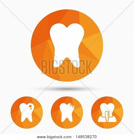 Dental care icons. Caries tooth sign. Tooth endosseous implant symbol. Triangular low poly buttons with shadow. Vector
