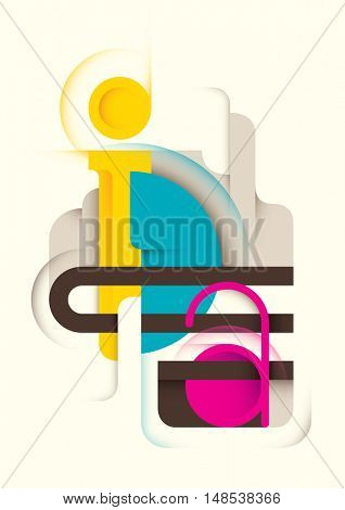 Abstract typography design in color. Vector illustration.