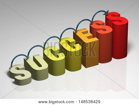 Success 3D business growth graphic moving motion