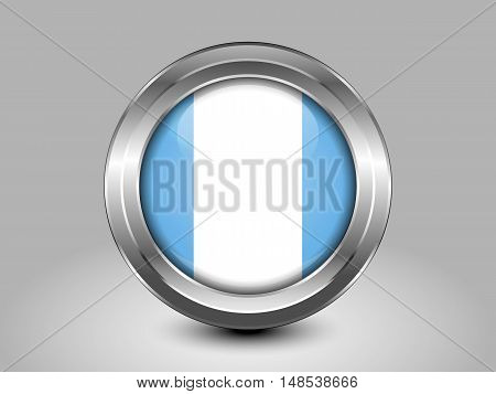 Flag Of Guatemala. Metal And Glass Round Icon