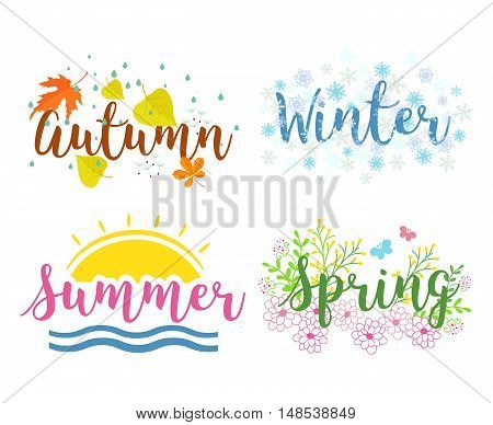 Winter, spring, summer, fall. Seasons the lettering isolated on a white background
