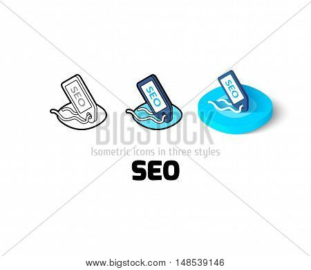 SEO - search engine optimization icon, vector symbol in flat, outline and isometric style