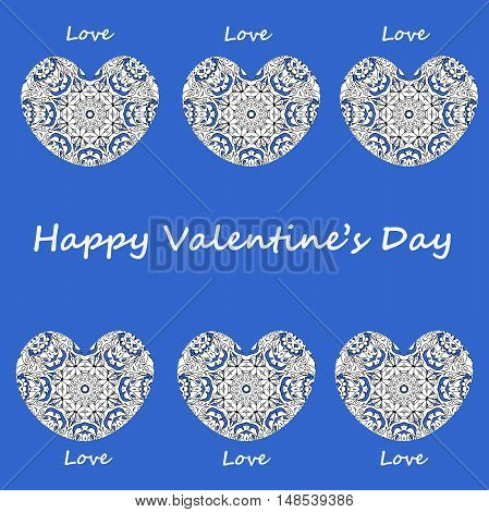 Postcard happy Valentines day, hearts with vintage ornament on blue background
