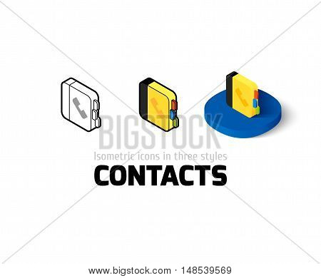 Contacts icon, vector symbol in flat, outline and isometric style