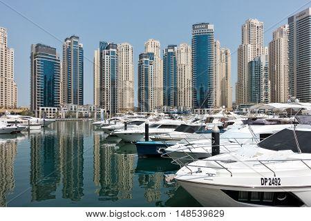 Dubai UAE - september 05 2016: City scenery of Dubai Marina UAE. Dubai Marina is a district in Dubai with artificial canal skyscrapers