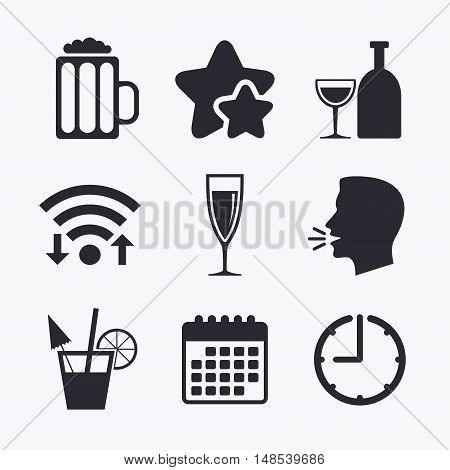 Alcoholic drinks icons. Champagne sparkling wine and beer symbols. Wine glass and cocktail signs. Wifi internet, favorite stars, calendar and clock. Talking head. Vector