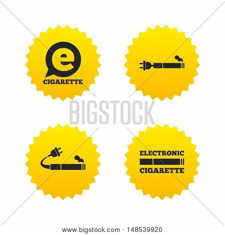 E-Cigarette with plug icons. Electronic smoking symbols. Speech bubble sign. Yellow stars labels with flat icons. Vector