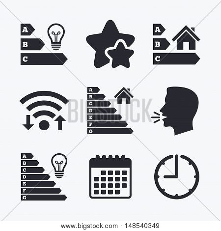 Energy efficiency icons. Lamp bulb and house building sign symbols. Wifi internet, favorite stars, calendar and clock. Talking head. Vector
