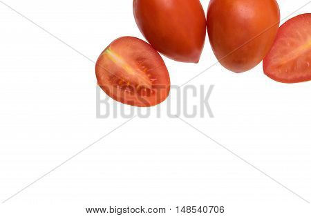 Red fresh tomatoes isolated on white background Empty space for text