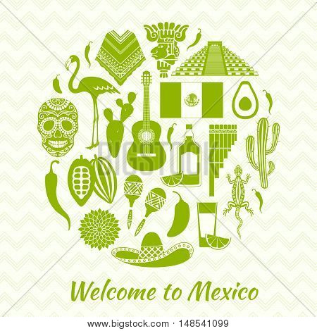 Mexican icons silhouettes. Set of traditional Mexican symbols. Vector illustration. Templates and stencils for your design.