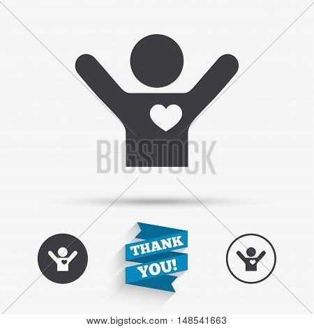 Fans love icon. Man raised hands up sign. Flat icons. Buttons with icons. Thank you ribbon. Vector