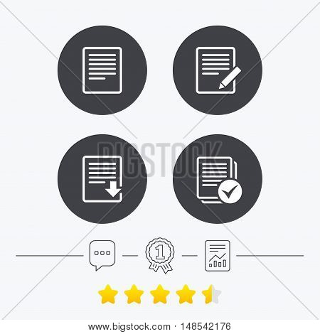 File document icons. Download file symbol. Edit content with pencil sign. Select file with checkbox. Chat, award medal and report linear icons. Star vote ranking. Vector