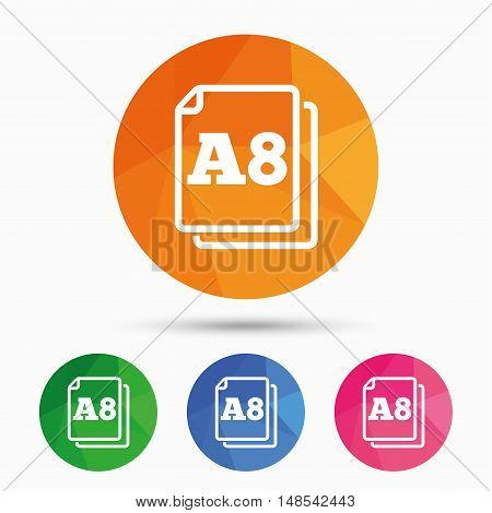 Paper size A8 standard icon. File document symbol. Triangular low poly button with flat icon. Vector