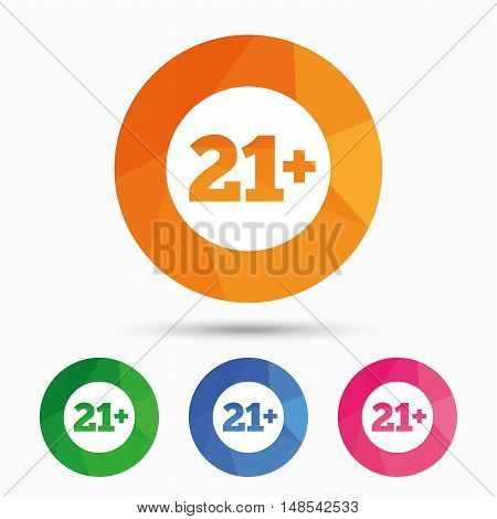 21 plus years old sign. Adults content icon. Triangular low poly button with flat icon. Vector