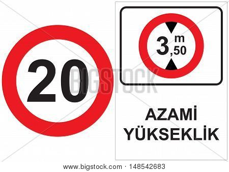 Occupational Safety and Health Signs. Turkish Spelling. English Translate; Maximum Height.