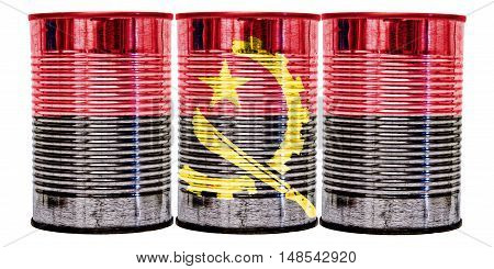 Three tin cans with the flag of Angola on them isolated on a white background.