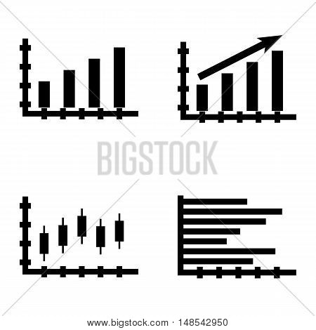 Set Of Statistics Icons On Statistics Growth, Candles Chart, Bar Chart And More. Premium Quality Eps