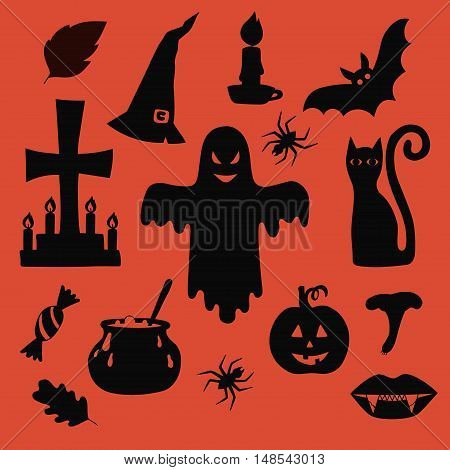 Halloween symbols silhouettes isolated blsck collection with grave, pumpkin, candles, bat, black cat, vampire lips and liefs of fall