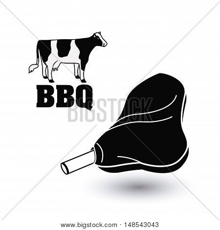 Cow meat bbq and grill menu icon. Steak house food and restaurant theme. Isolated design. Vector illustration