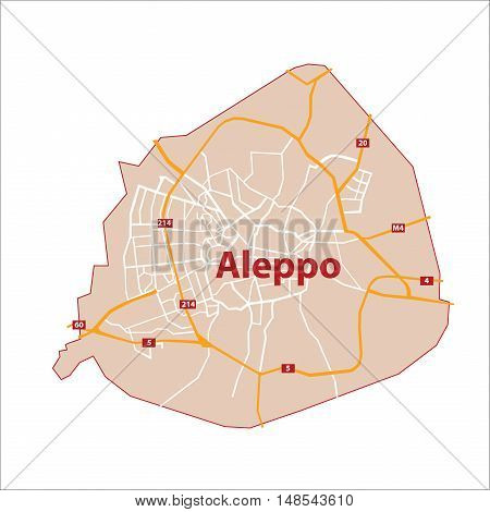 Detailed Boundary Map of Aleppo with Main streets and Roads