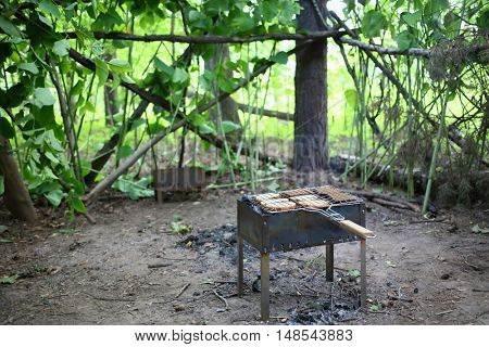 Brazier with grille and slices of bread on a cleared area in the forest