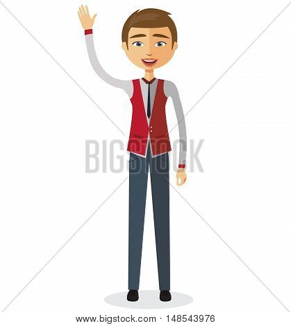 business man waving her hand flat cartoon vector illustration. Eps10. Isolated on a white background.