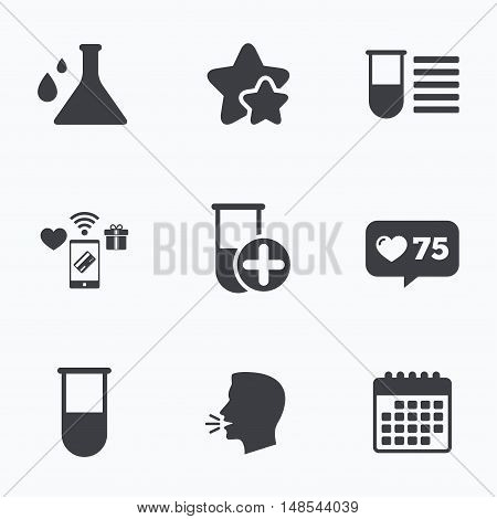 Chemistry bulb with drops icon. Medical test signs. Laboratory equipment symbols. Flat talking head, calendar icons. Stars, like counter icons. Vector