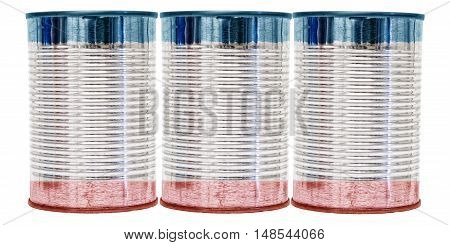 Three tin cans with the flag of Crimea on them isolated on a white background.