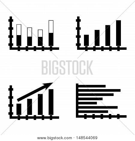 Set Of Statistics Icons On Statistics Growth, Horizontal Bar Chart, Stacked Bar And More. Premium Qu