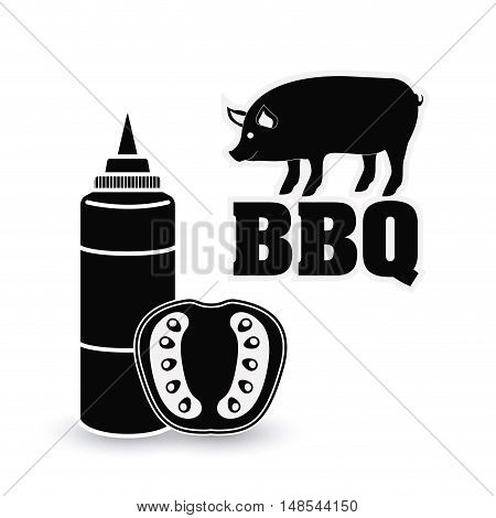 Pork pig tomato sauce bbq and grill menu icon. Steak house food and restaurant theme. Isolated design. Vector illustration