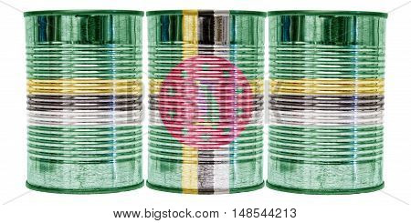 Three tin cans with the flag of Dominica on them isolated on a white background.