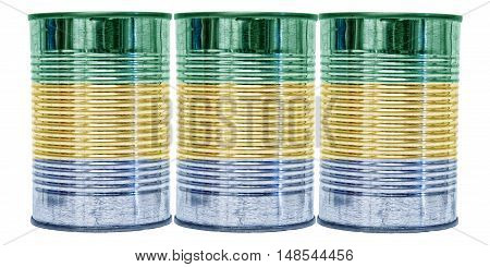 Three tin cans with the flag of Gabon on them isolated on a white background.