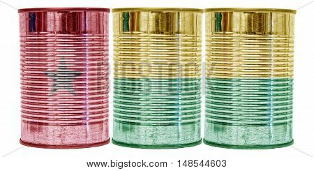 Three tin cans with the flag of Guinea-Bissau on them isolated on a white background.