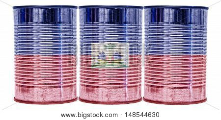 Three tin cans with the flag of Haiti on them isolated on a white background.